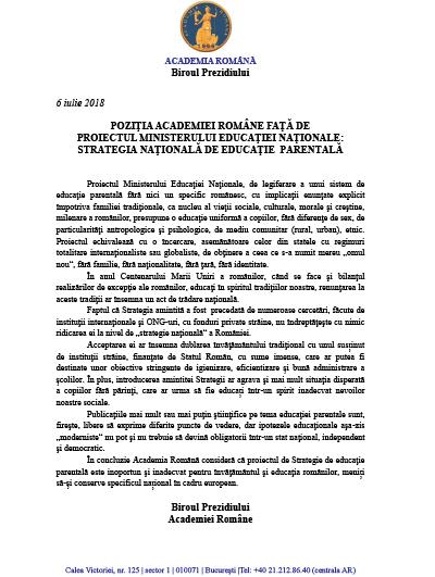 Poziția ACADEMIEI ROMÂNE despre Educația parentală-1